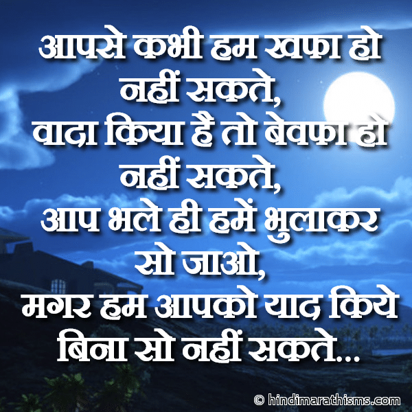 Aapko Yaad Kiye Bina So Nahi Sakte GOOD NIGHT SMS HINDI Image