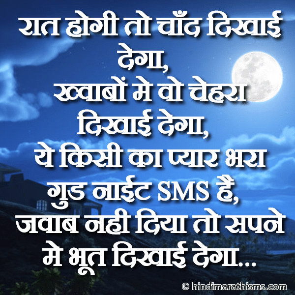 Funny Good Night SMS Hindi Image
