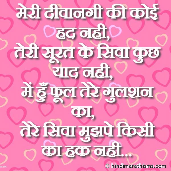 Tere Siva Mujh Pe Kisi Ka Hak Nahi LOVE SMS HINDI Image