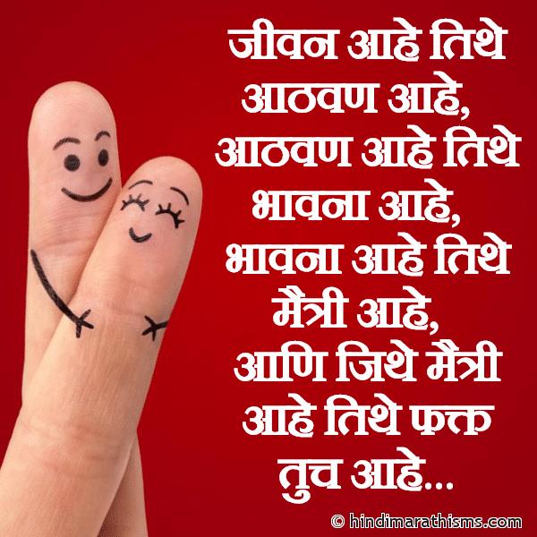 Jeevan Aahe Tithe Aathvan Aahe FRIENDSHIP SMS MARATHI Image