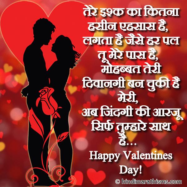 Tere Ishq Ka Kitna Hasin Ehsaas Hai VALENTINE DAY SMS HINDI Image