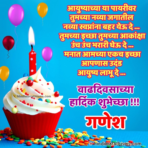 Happy Birthday Ganesh Marathi Image