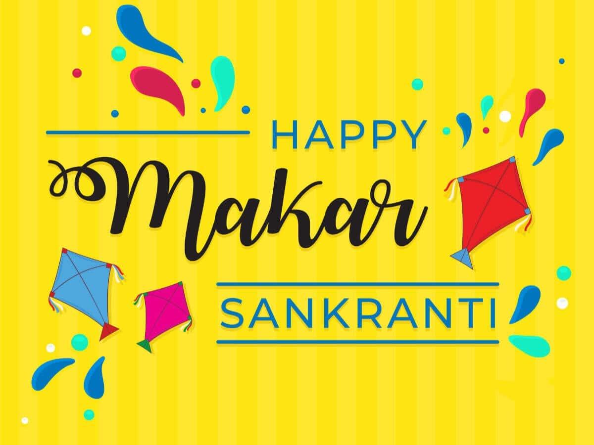 Haapy Makar Sankranti Yellow Background